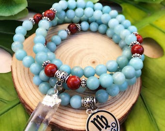 VIRGO Zodiac Mala Beads | 108 Bead Mala for August September Birthday | Meditation Yoga Beads, Amazonite Prayer Beads, 108 Mala Necklace