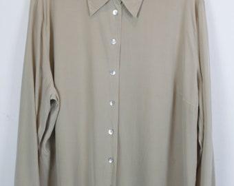 Vintage silk shirt, 90s clothing, beige, shirt 90s, long sleeves, oversized