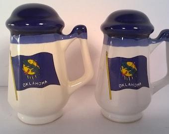 Vintage Ceramic Oklahoma Souvenir Salt and Pepper Shakers Set
