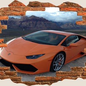3D Hole In Wall Lamborghini Aventador Super Car View Wall Decal Sticker  Frame Mural Effect Home
