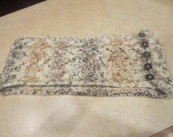 Handmade, Knit, Beige/Brown, Infinity Scarf,