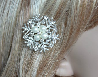 Handmade Crystal Rhinestone and Pearl Snowflake Hair Clip, Bridal, Wedding (Sparkle-2628)