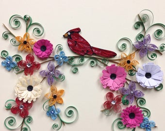 Quilled Cardinal with Flowers, quilling, art, handmade, framed