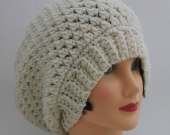 "Knitted ""Cream/Off White"" Beanie,  Slouchy Head Accessory,  Boho-chic"