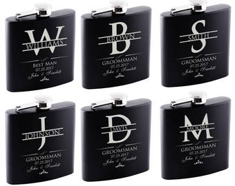 P Lab Set of 6 or Only 1 Groomsmen Gift - Personalized Flask Set - Groomsman Gifts Hip Flask, Customized Flask Set   Wedding Flask Set - 2