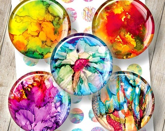 """Abstract Digital Collage Sheet 1 inch circles rainbow bottlecap images for jewelry 30mm, 25mm, 1.25"""", 1.5"""" round printable download cabochon"""