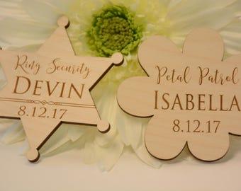 Ring Bearer, Flower Girl, Badges, Bling Security, Petal Patrol, Ring Security Gift, Flower Girl Gift, Ring Bearer Ideas, Wedding Party,