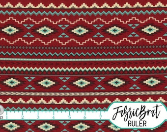 SOUTHWEST AZTEC Fabric by the Yard Fat Quarter Fabric Red Teal & Cream Stripe Fabric Quilting Fabric 100% Cotton Fabric Apparel Fabric w5-24
