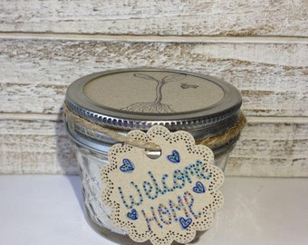 Welcome Home! Natural Soy Candle. 4 ounce Mason Jar Candle. Natural Home Decor. Hand-poured Soy Candle. Scented Soy Candles by Caroline