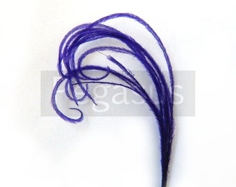ROYAL PURPLE Mini cruelty free peacock feather plume (12 Plumes)(16 color options) boutonnieres,earrings,fascinators, wedding invitations