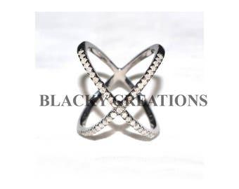 Diamond X Ring, 0.63 ct Pave Diamond X Ring Jewelry,  X Ring