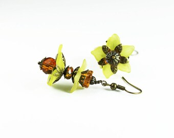 Larissa, Vintage Inspired Flower Earrings, Yellow Lucite, Amber Crystal & Brass Filigree