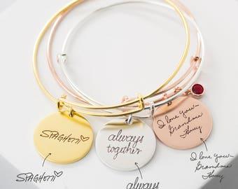 Custom Handwriting Bracelet • Adjustable Fashion Charm Bangle • Actual Signature Handwriting Jewelry • Expandable Friendship Bangle • BM24