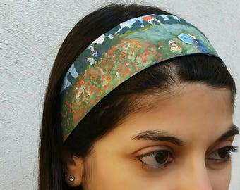 Cotton Hair band stitched and hand painted with fabric colors on both sides, Monet, gift idea, hair accessory, art