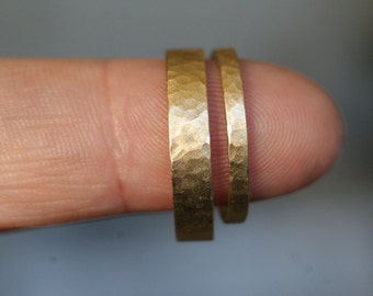 14k yellow gold hammered,  flat band wedding set (2 rings)