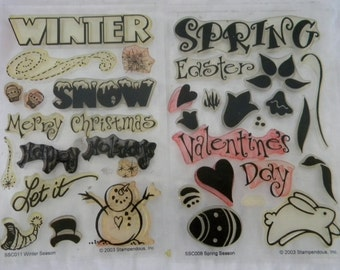 Spring and Winter Two Sheets - 34 Stamps Total of  Clear Unmounted Stamps FREE US SHIPPING