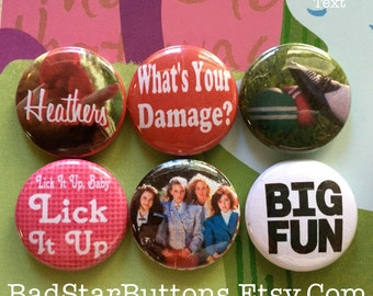 Heathers The Movie Button Set, Winona Ryder, Christian Slater, Croquet, Movie, Cult Movies,