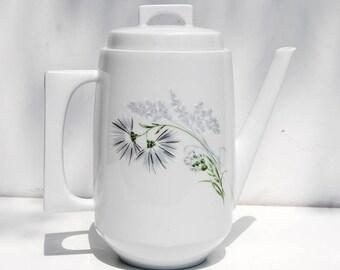 Vintage Limoge Teapot Coffeepot, Mid Century, White, Gray Cornflower, B & Co