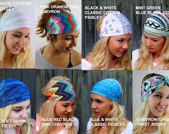 Yoga Headband Turban Wide Headband Choose ANY THREE - Stretchy Headband Workout HeadBand Cotton Jersey Headband Head Wrap - 40 Color Options