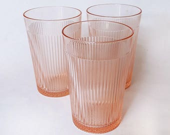 3 Homespun Pink Depression Glass Water Tumblers by Jeannette Glass Co