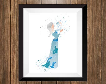 Elsa, Elsa Watercolor Art, Elsa Poster, Kids Room Decor, Baby Wall Decor, Playroom Wall Art