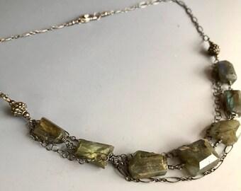 Labradorite Nugget Sterling Silver Oxidized Necklace / Labradorite Necklace / Goth Necklace / Multi Strand Sterling Silver Necklace
