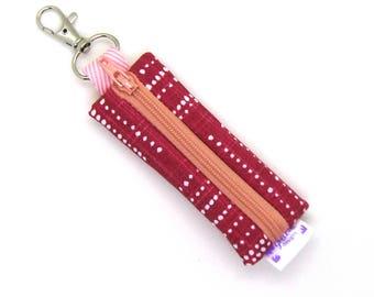 Mini Zipper Pouch / Lipstick Holder / Chapstick Holder / Lip Balm Holder / Earbud Case - Grenadine Red Geometric Dots