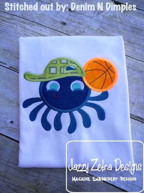 Octopus Basketball Player Appliqué embroidery Design - basketball appliqué design - octopus applique design