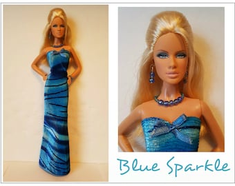 Model Muse Barbie Doll Clothes BLUE SPARKLE Dress and Jewelry Set - Custom Fashion - by dolls4emma
