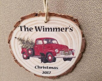 Christmas tree ornaments wood slices family name with year 2018 red truck dog wood ornament real tree bark holiday decor burlap string cute
