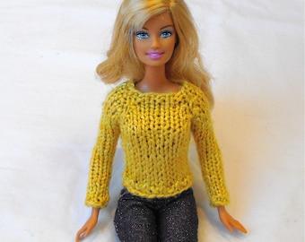 Barbie Simple Raglan Sweater Knitting Pattern PDF Knit DK Sport Pullover OR Open-Back or Cardigan