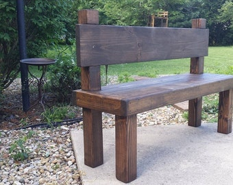 """Beautiful Reclaimed Unique Primtiques Dark Walnut Stained 19-1/2"""" x 54"""" x 36""""h  Bench W/ Plank Back Custom Made Sizes Colors Available"""