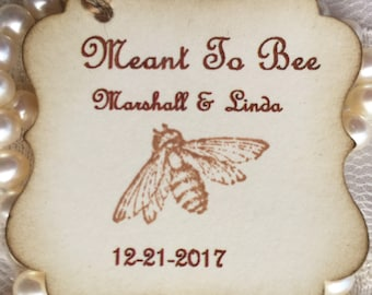 Meant to Bee tags  (30) - Honey Favor Tags - Wedding favor tag - Wedding tags - favor tags wedding gift tags - wedding favor labels