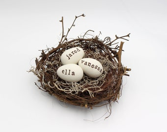 three egg bird nest :  clay eggs / family nest / mothers day gift / eggs in nest / woodland / waldorf inspired / spring / personalized  gift