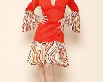 A-line retro mod dress, Boho Bell sleeve dress, Summer Festival dress