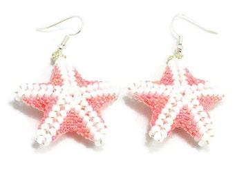 Beaded Starfish Earrings - Pink Seed Bead Jewelry - Beach  Marine Jewelry - Summer Dangle Earrings - Large Sea Creature Earrings