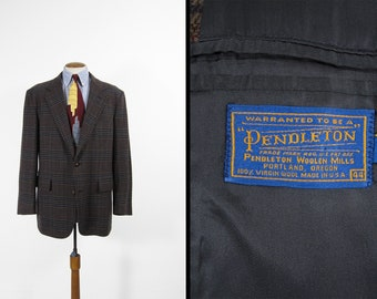 Vintage Pendleton Sport Coat Houndstooth Button Suit Jacket Dark Plaid Blazer - Size 44 L