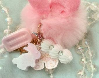 Pink Bunny Pompom Keychain