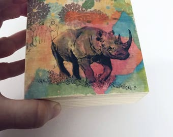 Rhinoceros Painting Rhino Art on Wood Animal Nursery Art Decor Wall Art Rhino Painting on Wood Wall Art Wall Art Animal Painting Wall Decor