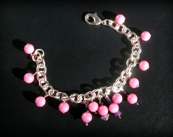 Rhodochrosite bracelet, Amethyst (gemstones), 925 sterling silver.
