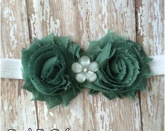 SALE Sage Green Shabby Chic Flower Headband, Baby Headband, Toddler Headband, Girls Headband, Adult Headband, Hair Bow