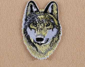 Wolf head and tiger head applique badge patch Wolf or Tiger fusible iron-on or sew fabric