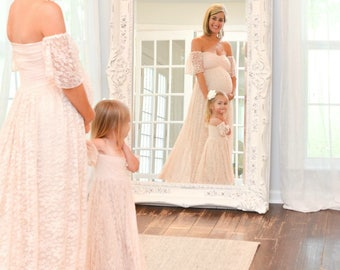 Julianna Mommy and daughter set,lace dress with lining,flower girl,maternity dress,wedding gown,bridal gown,senior photo