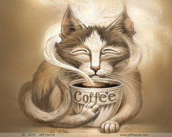 Coffee Cat // 8 X 10 PRINT // Cat art print // Coffee Cat // Tabby Coffee Cat // Java Cat // Fantasy Cats // Cat Giclee print