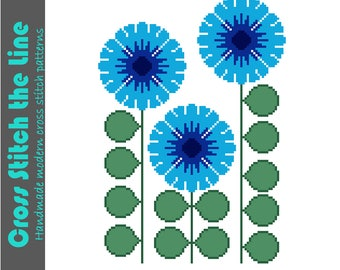 Modern retro floral cross stitch pattern. Contemporary design. Downloadable embroidery chart of ragged edge flowers in shades of blue.