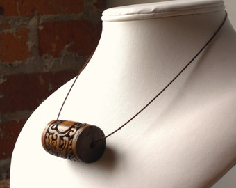 Unisex Carved Wood & Bone Minimalist Necklace, The  Rustique Necklace