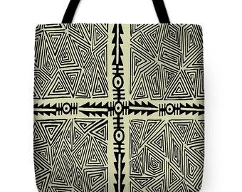 African Folk Art Arrow PolyPoplin Tote Bag - African Tribal Decor Throw Pillow Gift - African Folk Art Tote Bag - ReUsable Grocery Tote
