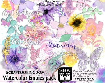 Watercolor Embellishments pack .. stunning soft melted water paint color digital Scrapbook embellishments - matching Paper pack also avail.