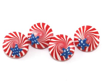 USA flag beads, patriotic beads, polymer clay lentil beads, Independence Day, stars and stripes beads, American flag beads, 4th of July