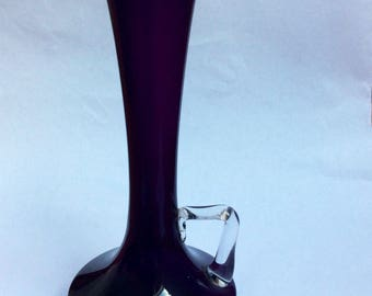 Purple Glass Vase. Glass Vase. Bud Vase. Purple Bud Vase.